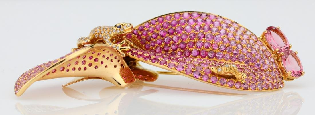 7.50ctw Pink Tourmaline 18K Frog Brooch W/Diamonds - 8
