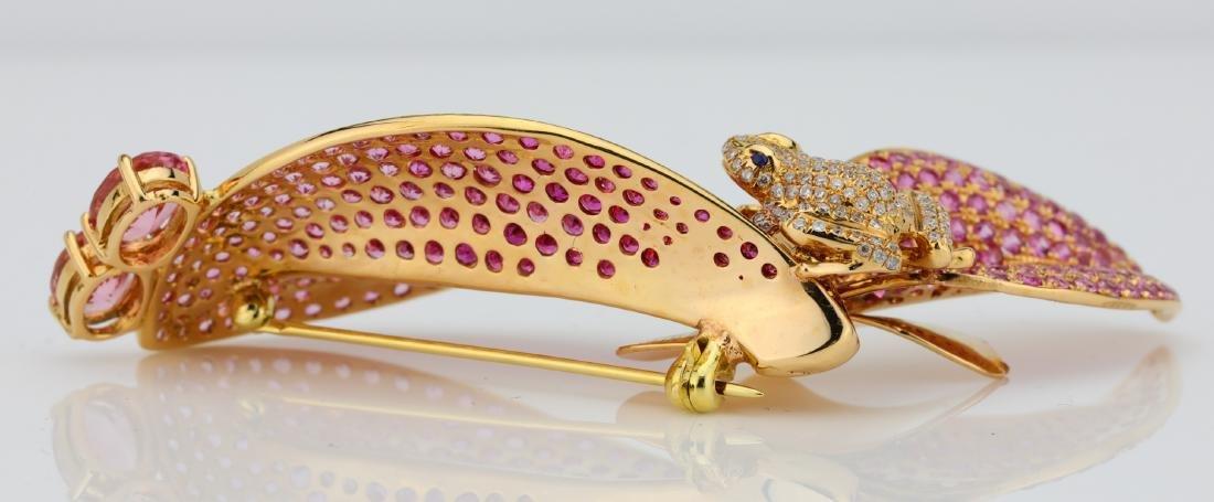 7.50ctw Pink Tourmaline 18K Frog Brooch W/Diamonds - 9