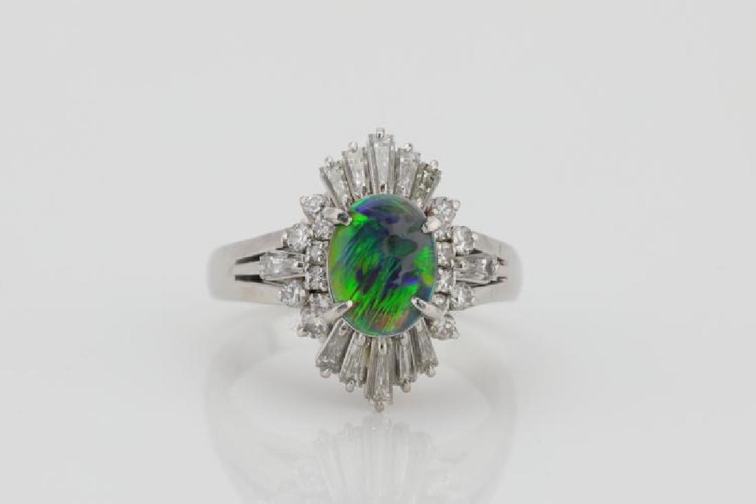1.70ctw Opal & Diamond Platinum Cocktail Ring