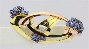 300ctw Blue Sapphire  14K Brooch WDiamonds