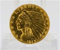 1915P US Indian Head Gold 250 Quarter Eagle