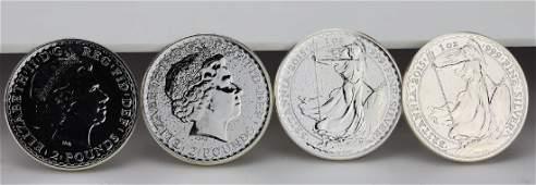 4 2015 1 Ounce 999 Silver Britannia Coins