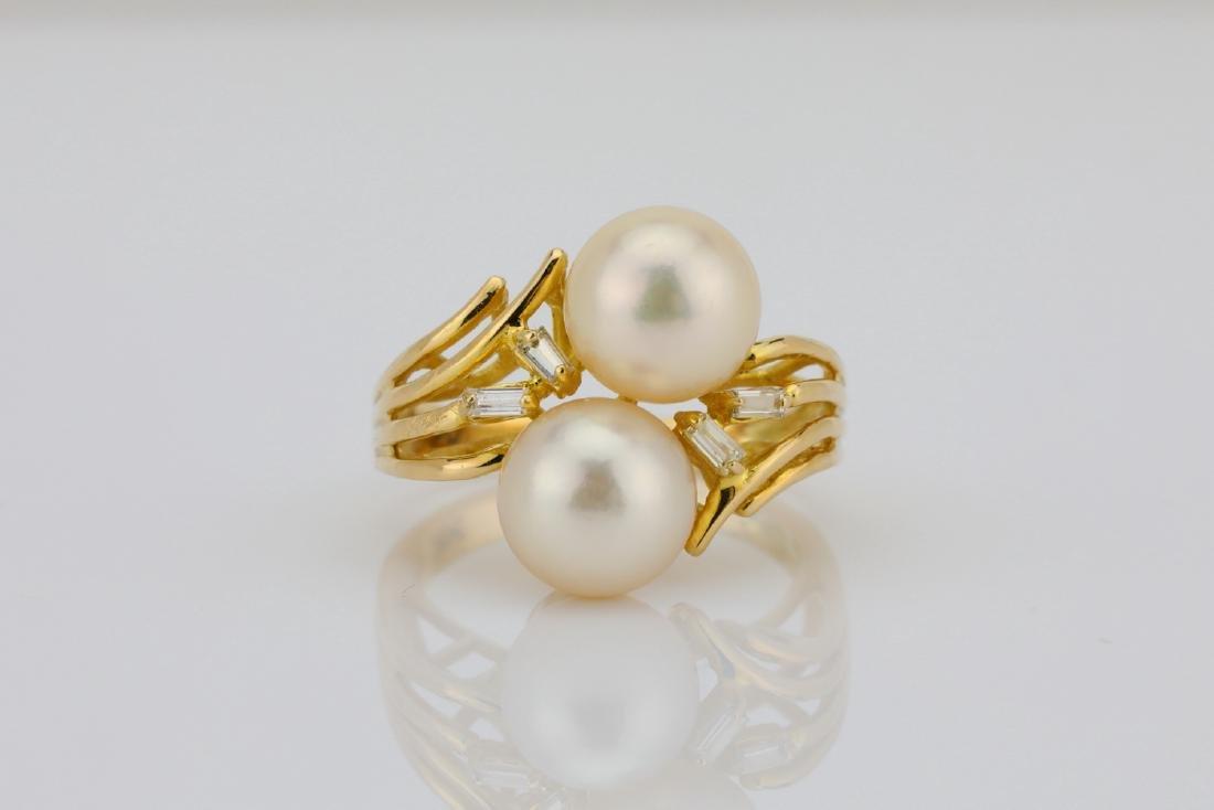 8mm Pearl & 14K Yellow Gold Ring W/Diamonds