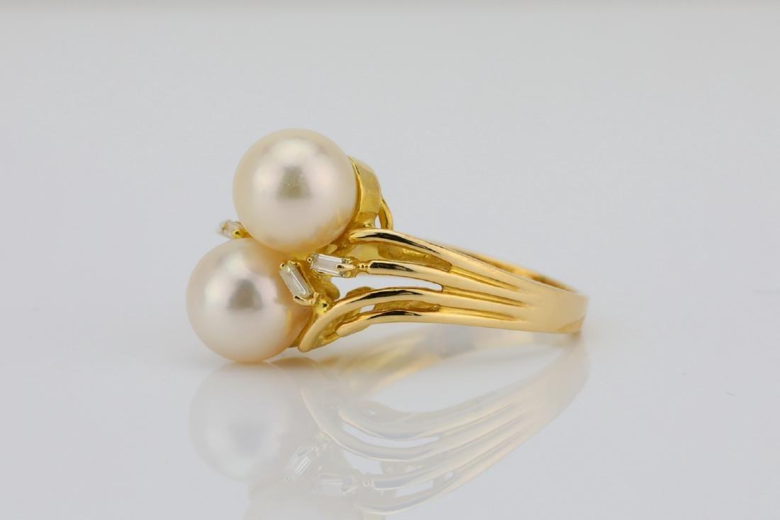 8mm Pearl & 14K Yellow Gold Ring W/Diamonds - 2