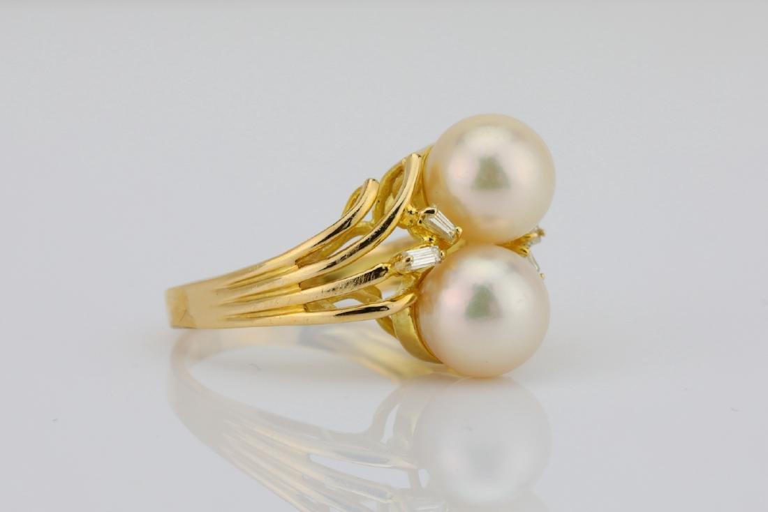 8mm Pearl & 14K Yellow Gold Ring W/Diamonds - 3