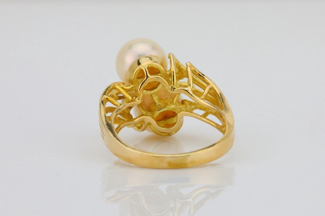 8mm Pearl & 14K Yellow Gold Ring W/Diamonds - 4