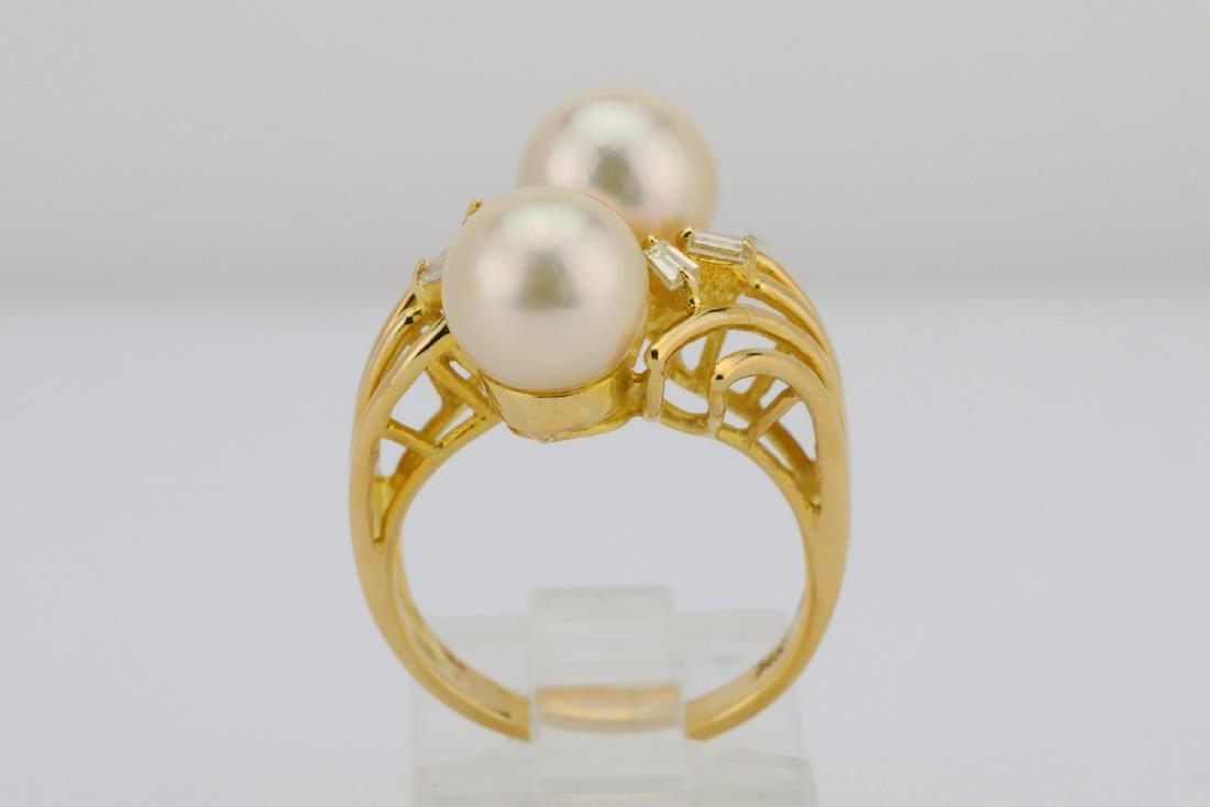 8mm Pearl & 14K Yellow Gold Ring W/Diamonds - 5