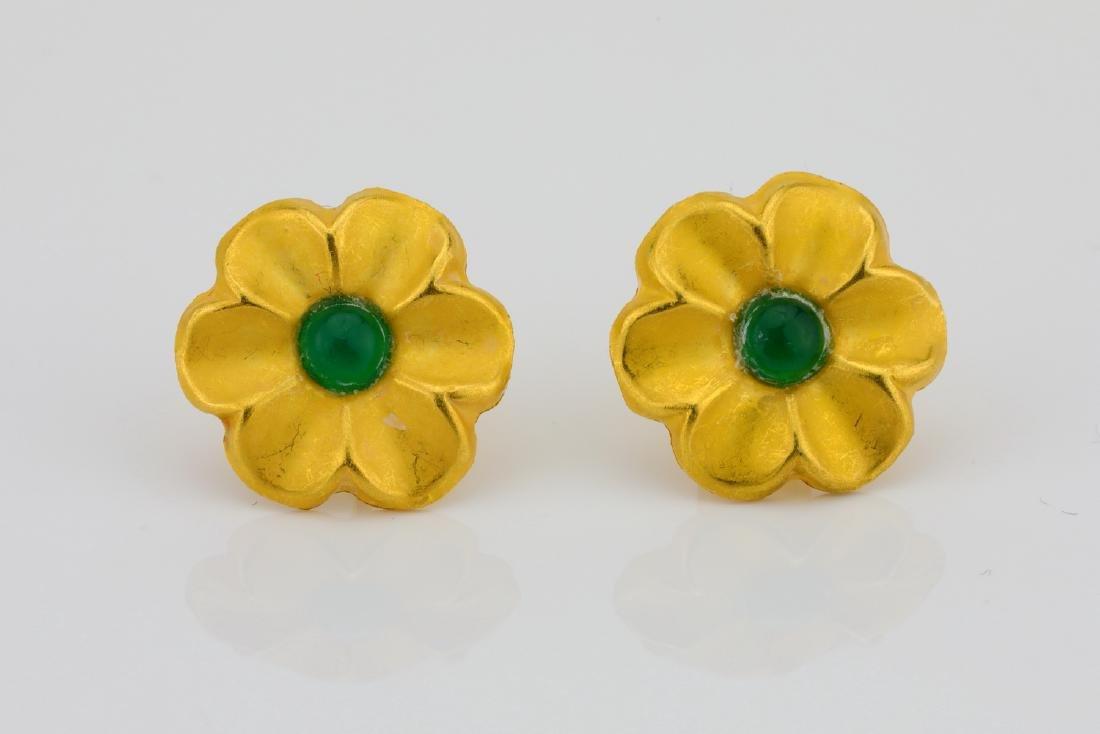 Designer 18K & Cabochon Green Gemstone Earrings