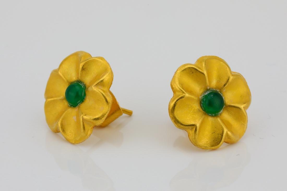 Designer 18K & Cabochon Green Gemstone Earrings - 2