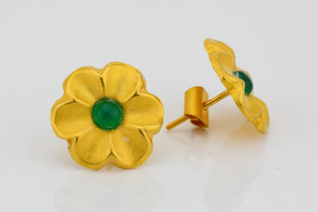 Designer 18K & Cabochon Green Gemstone Earrings - 3