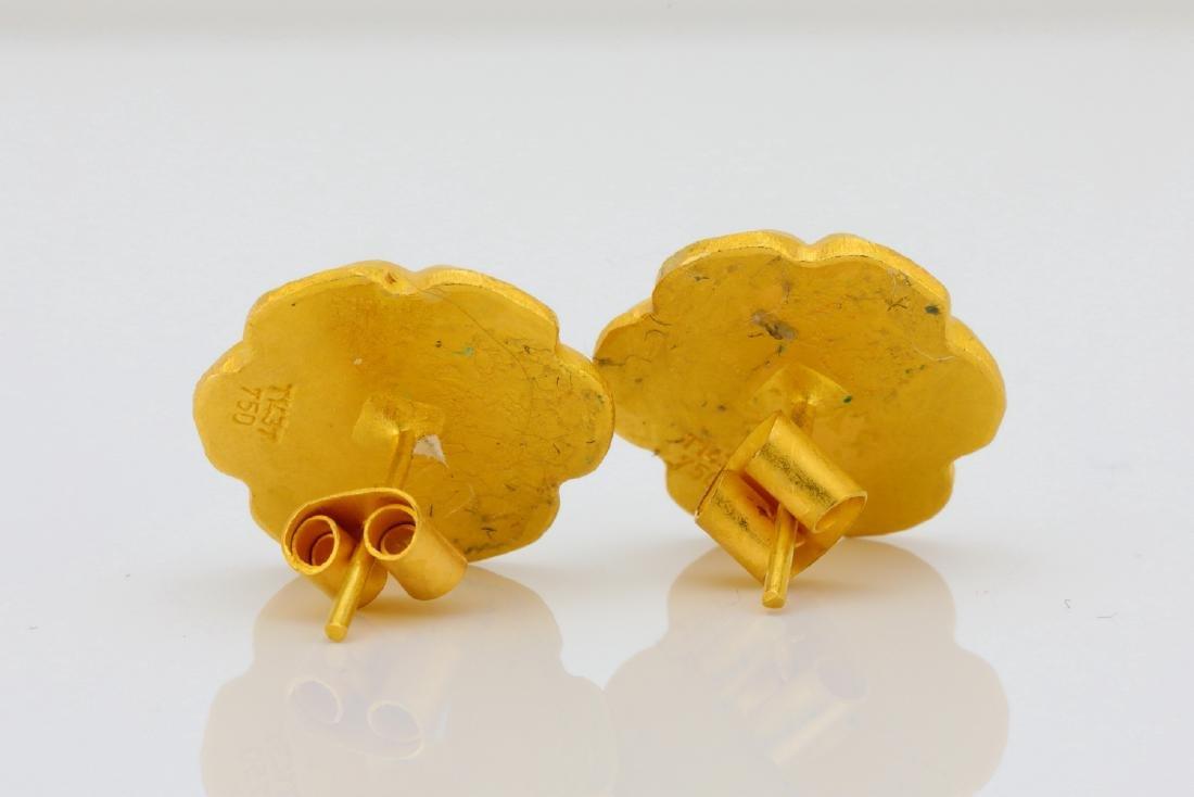 Designer 18K & Cabochon Green Gemstone Earrings - 4