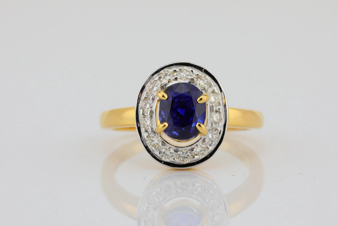 2.17ct Gubelin Kashmir Sapphire, Diamond 18K Ring