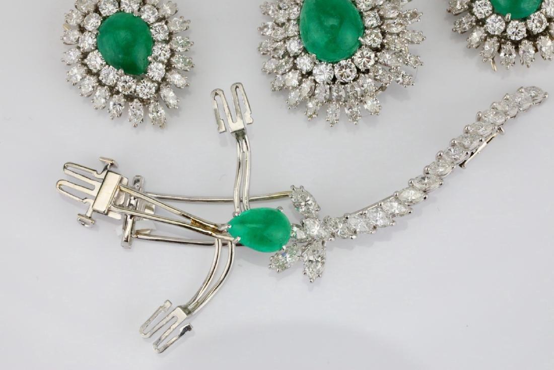 David Webb 36ctw Diamond & Emerald Platinum Set - 10