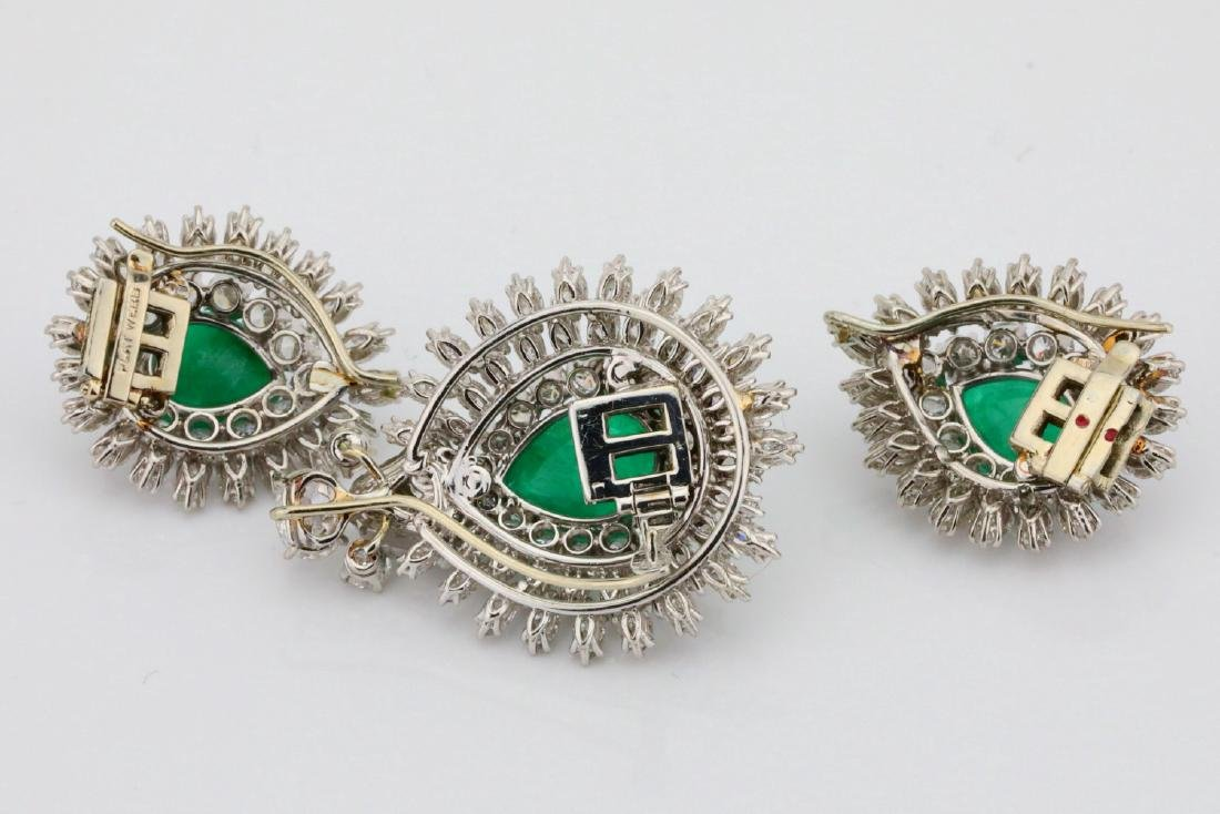 David Webb 36ctw Diamond & Emerald Platinum Set - 11