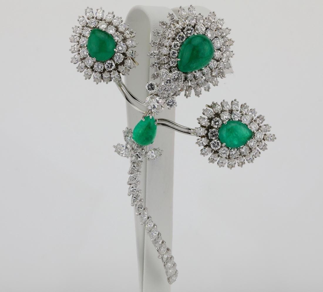 David Webb 36ctw Diamond & Emerald Platinum Set