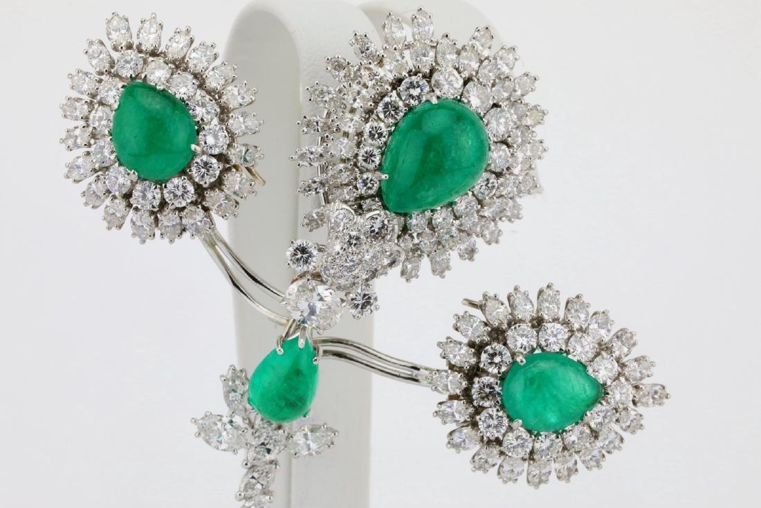 David Webb 36ctw Diamond & Emerald Platinum Set - 2