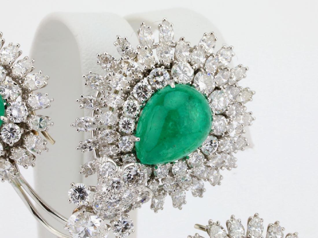 David Webb 36ctw Diamond & Emerald Platinum Set - 4