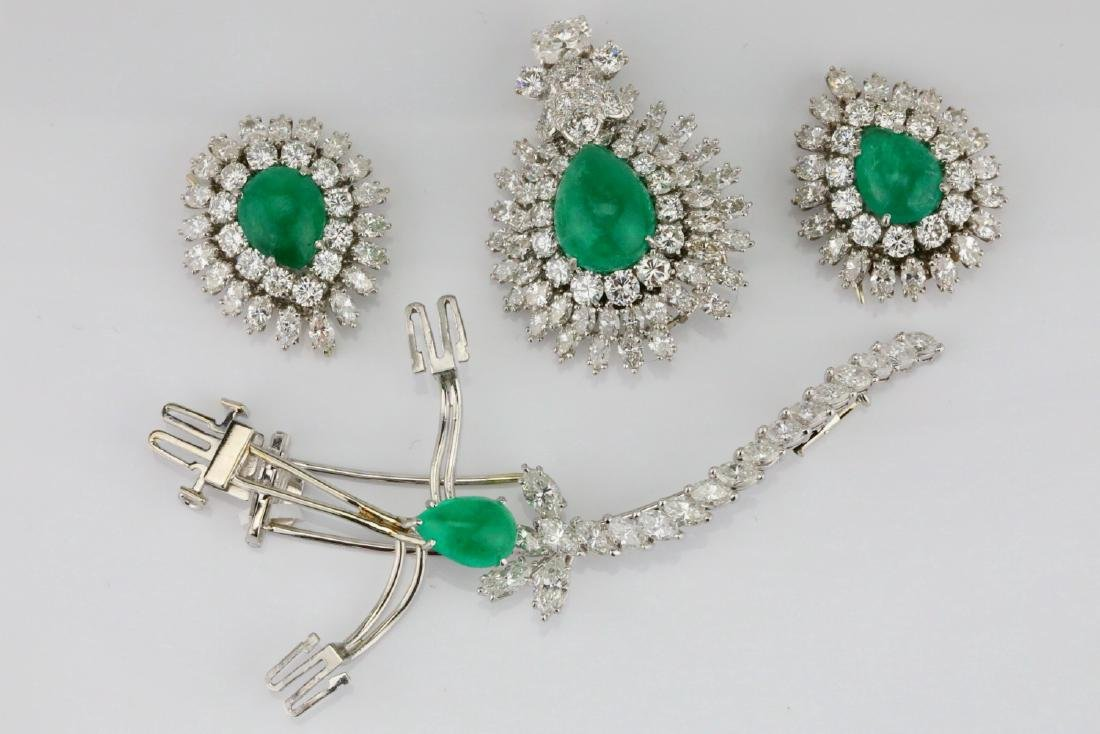 David Webb 36ctw Diamond & Emerald Platinum Set - 8