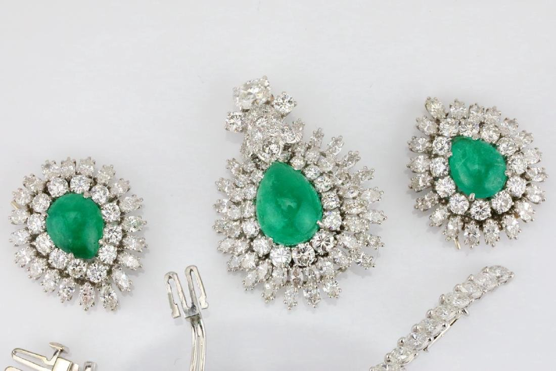 David Webb 36ctw Diamond & Emerald Platinum Set - 9