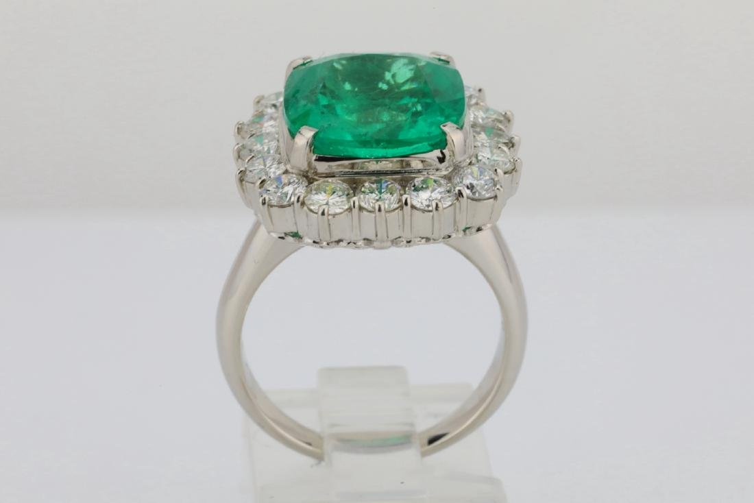 7.43ct GIA Colombian Emerald, Diamond Platinum Ring - 10