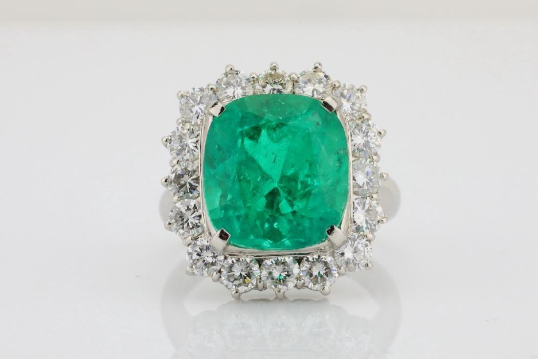 7.43ct GIA Colombian Emerald, Diamond Platinum Ring