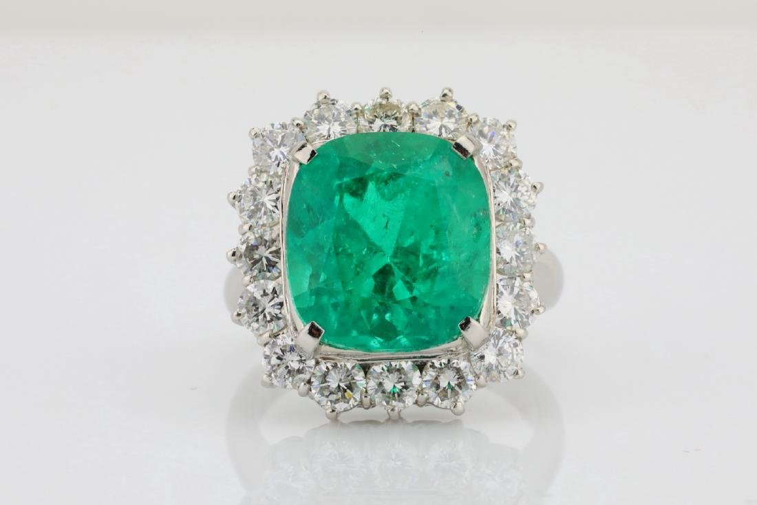 7.43ct GIA Colombian Emerald, Diamond Platinum Ring