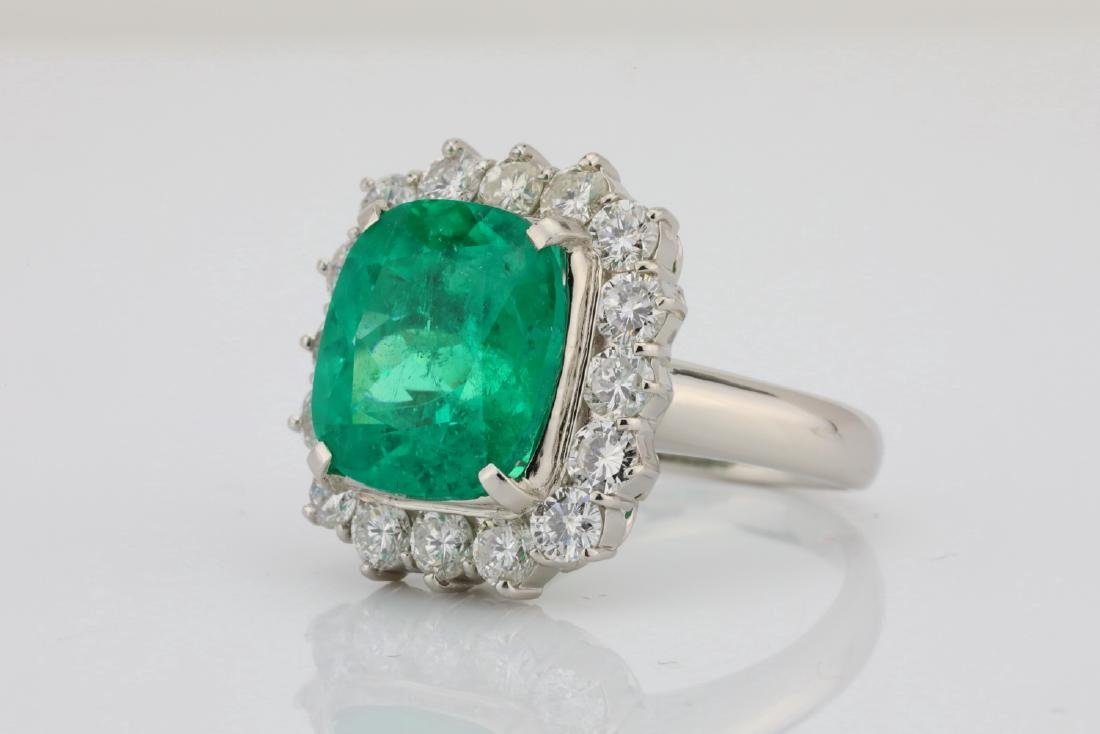 7.43ct GIA Colombian Emerald, Diamond Platinum Ring - 2