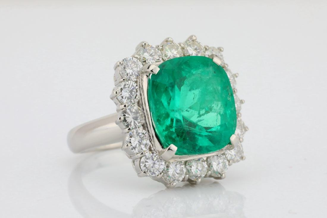 7.43ct GIA Colombian Emerald, Diamond Platinum Ring - 3