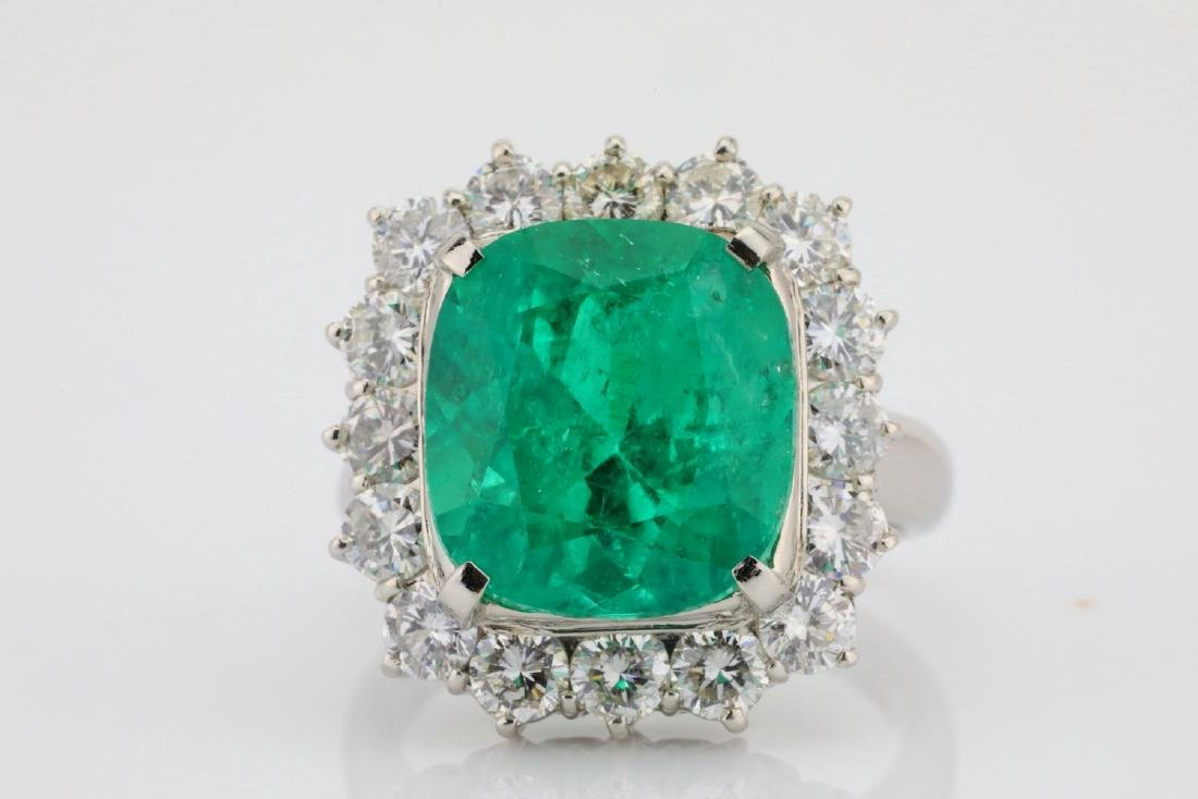 7.43ct GIA Colombian Emerald, Diamond Platinum Ring - 4
