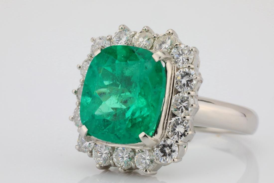 7.43ct GIA Colombian Emerald, Diamond Platinum Ring - 5