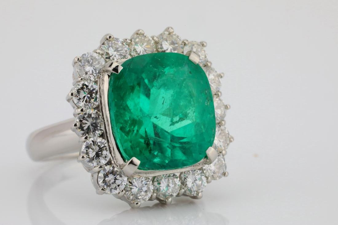 7.43ct GIA Colombian Emerald, Diamond Platinum Ring - 6
