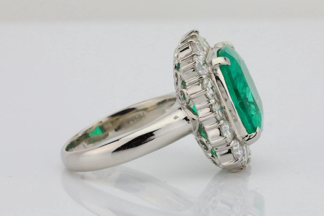 7.43ct GIA Colombian Emerald, Diamond Platinum Ring - 8