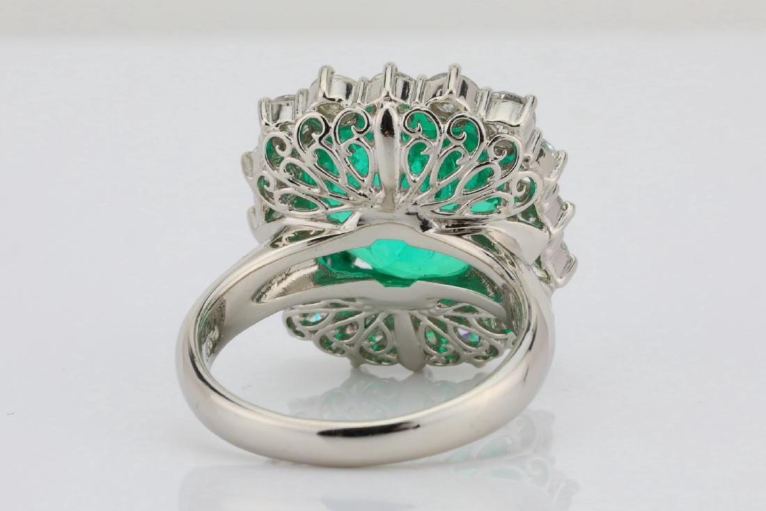 7.43ct GIA Colombian Emerald, Diamond Platinum Ring - 9