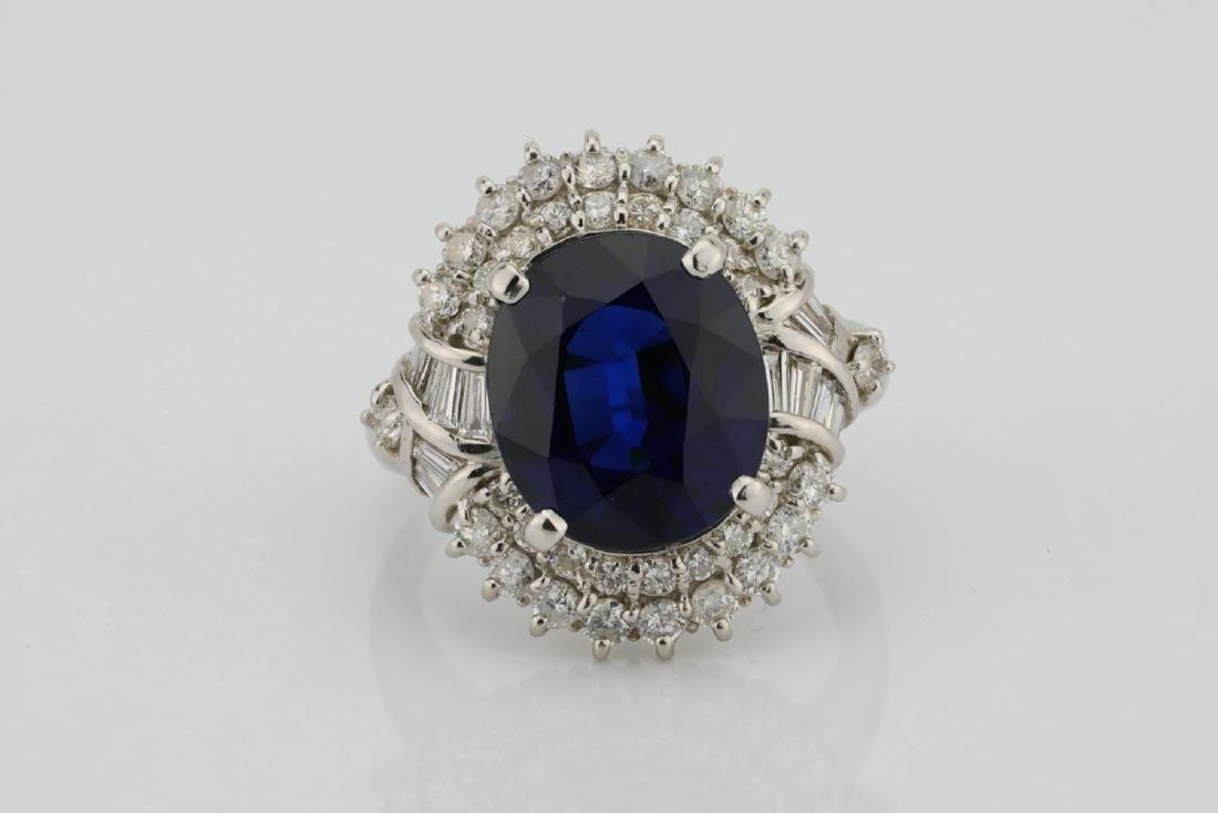 8.41ct GIA Blue Sapphire, Diamond & Platinum Ring