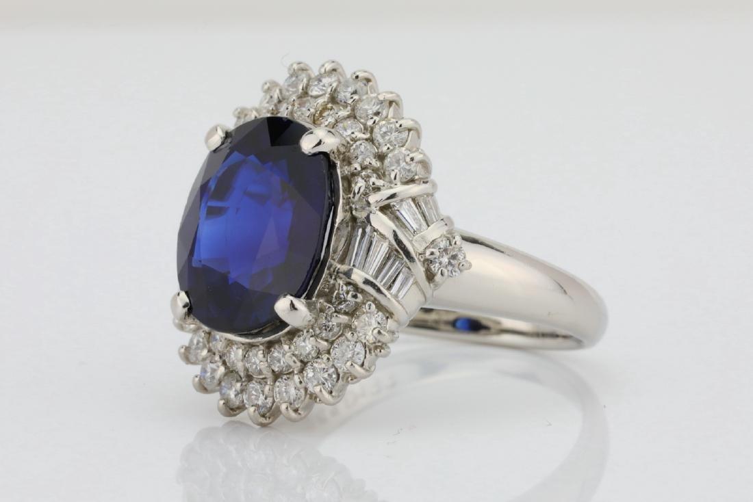 8.41ct GIA Blue Sapphire, Diamond & Platinum Ring - 2