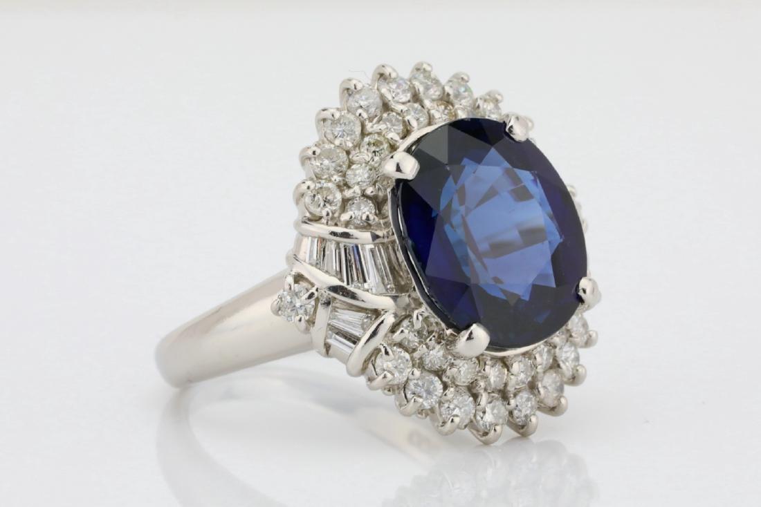 8.41ct GIA Blue Sapphire, Diamond & Platinum Ring - 3