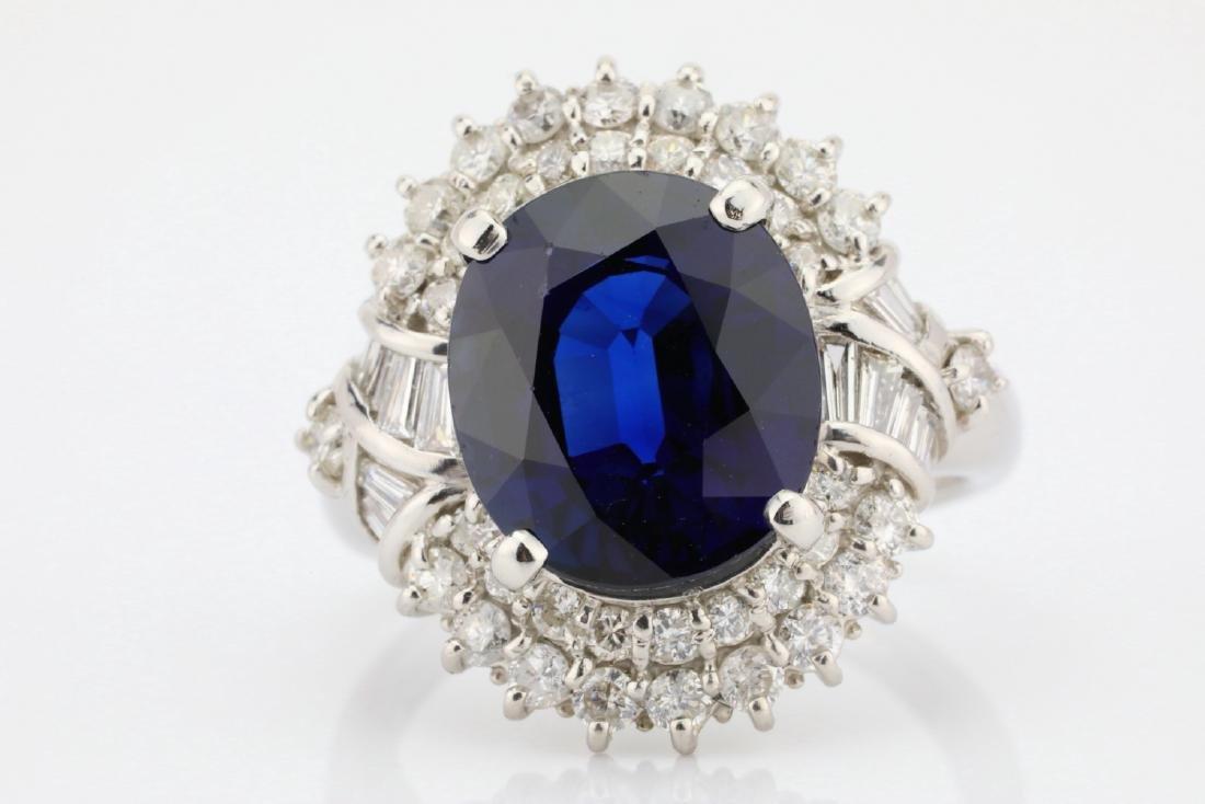 8.41ct GIA Blue Sapphire, Diamond & Platinum Ring - 4