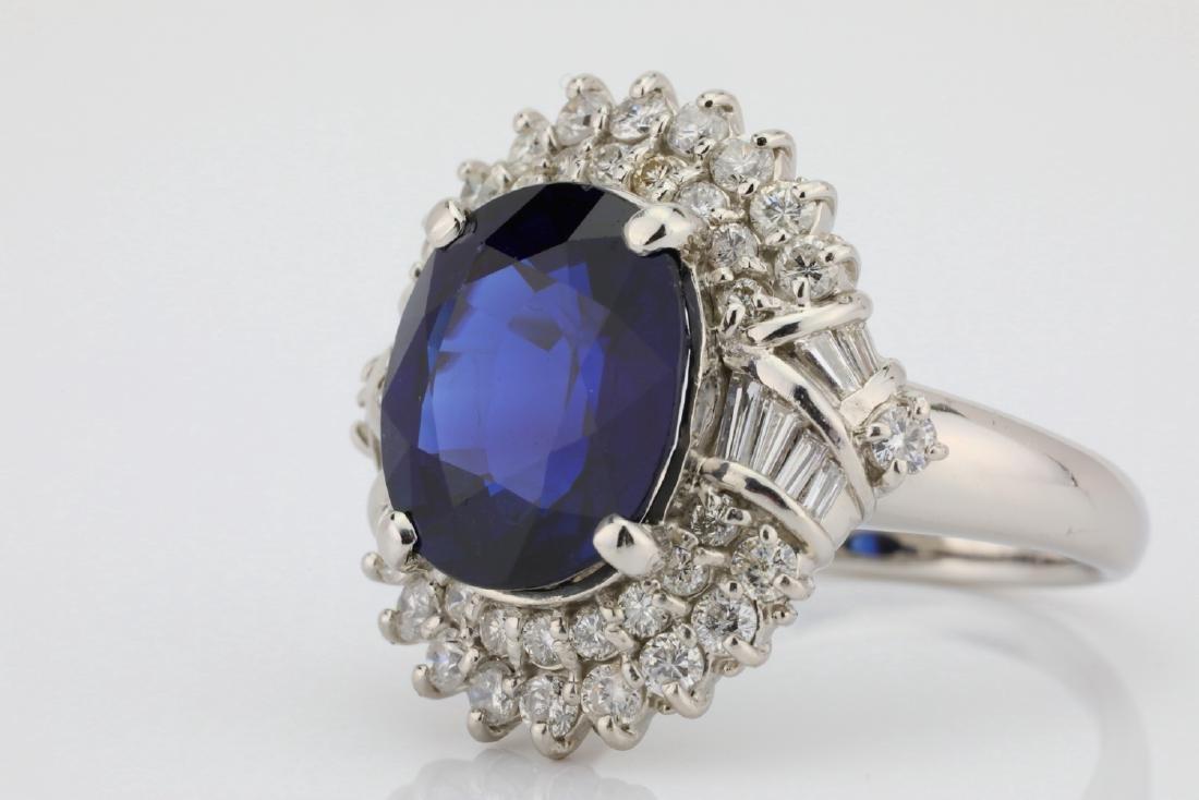 8.41ct GIA Blue Sapphire, Diamond & Platinum Ring - 5