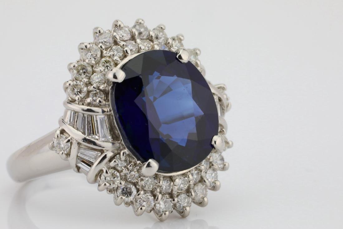 8.41ct GIA Blue Sapphire, Diamond & Platinum Ring - 6