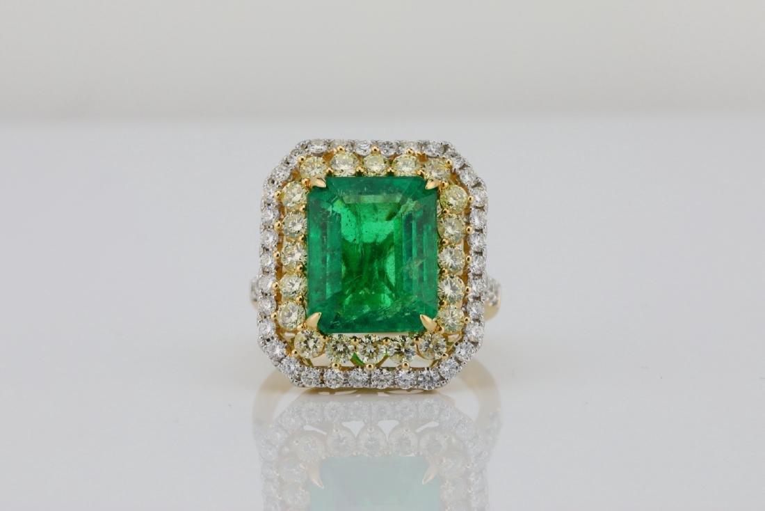 7ct Emerald, 2.25ctw Yellow/White Diamond 14K Ring