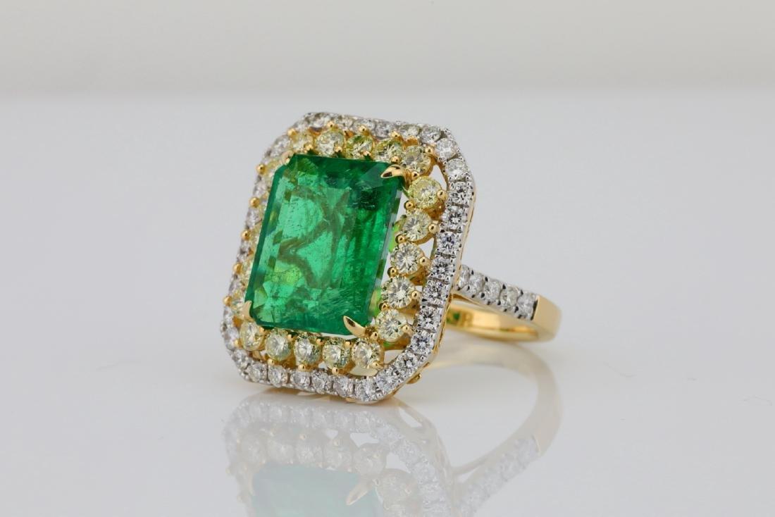 7ct Emerald, 2.25ctw Yellow/White Diamond 14K Ring - 2
