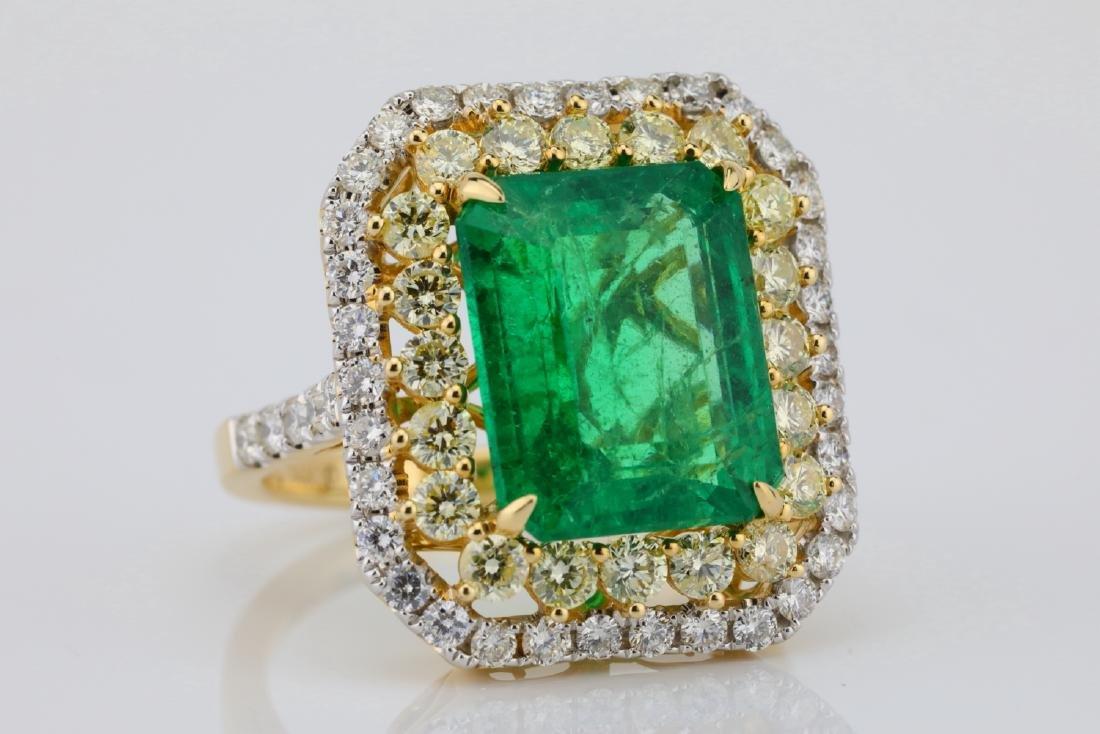 7ct Emerald, 2.25ctw Yellow/White Diamond 14K Ring - 5