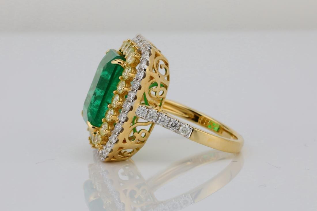 7ct Emerald, 2.25ctw Yellow/White Diamond 14K Ring - 6
