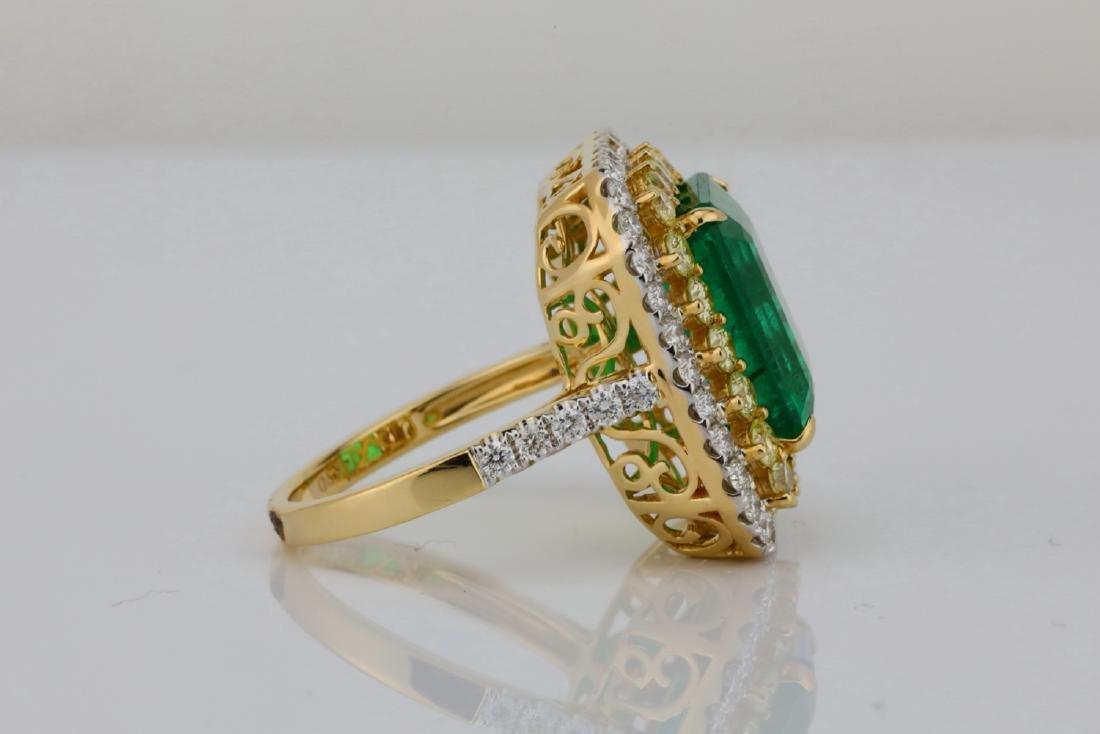 7ct Emerald, 2.25ctw Yellow/White Diamond 14K Ring - 7