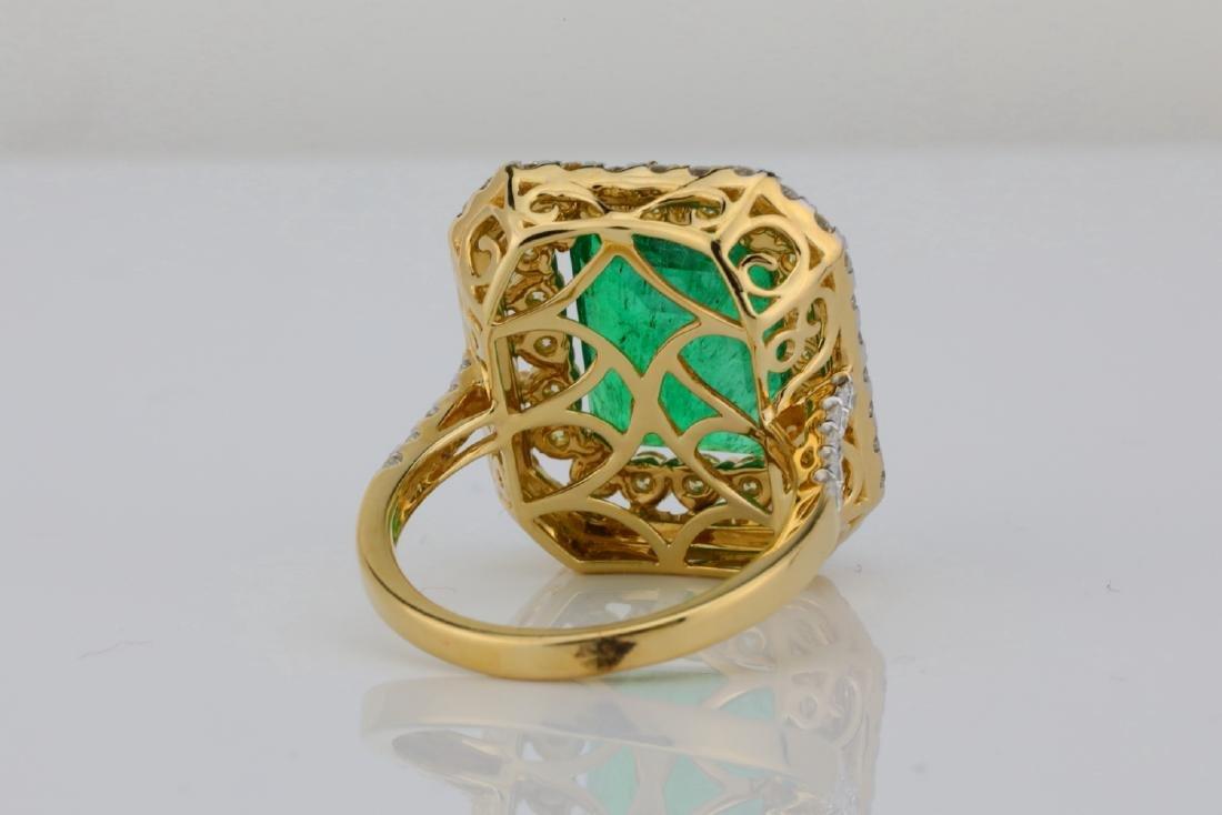 7ct Emerald, 2.25ctw Yellow/White Diamond 14K Ring - 8