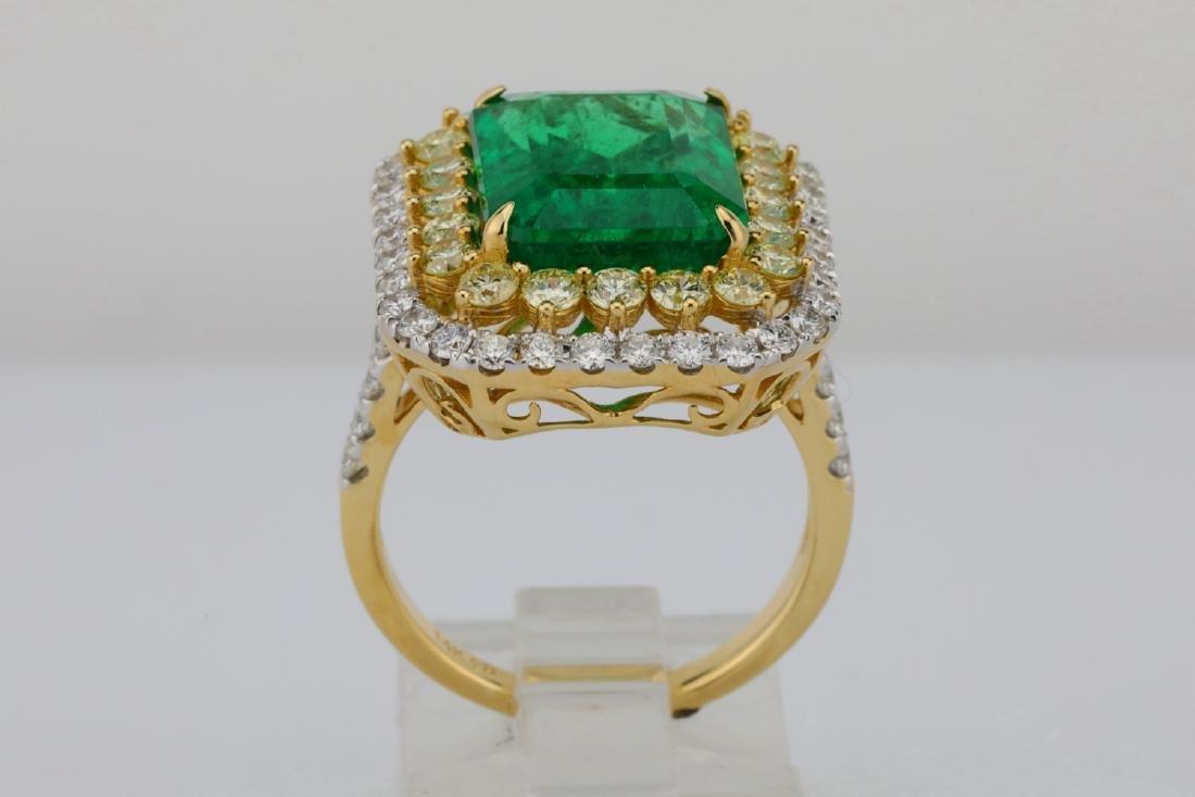 7ct Emerald, 2.25ctw Yellow/White Diamond 14K Ring - 9
