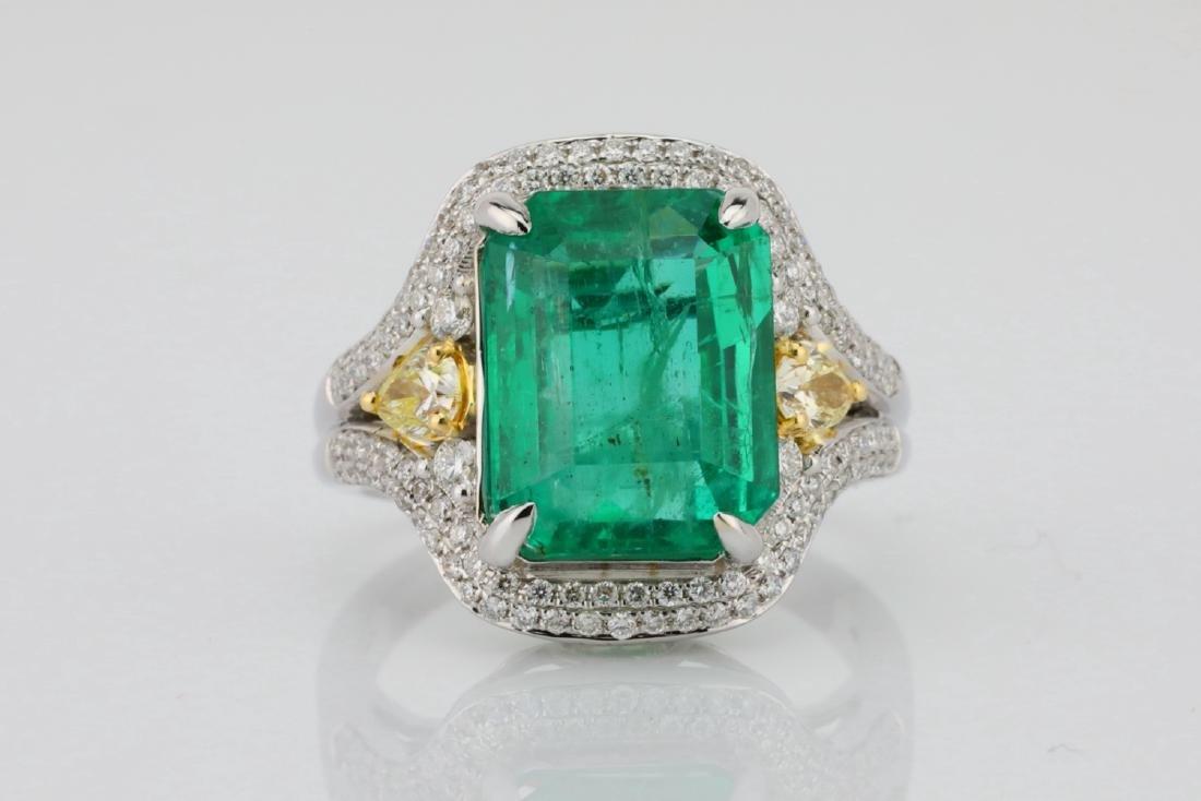 6.35ct Emerald, .8ctw Yellow/White Diamond 18K Ring
