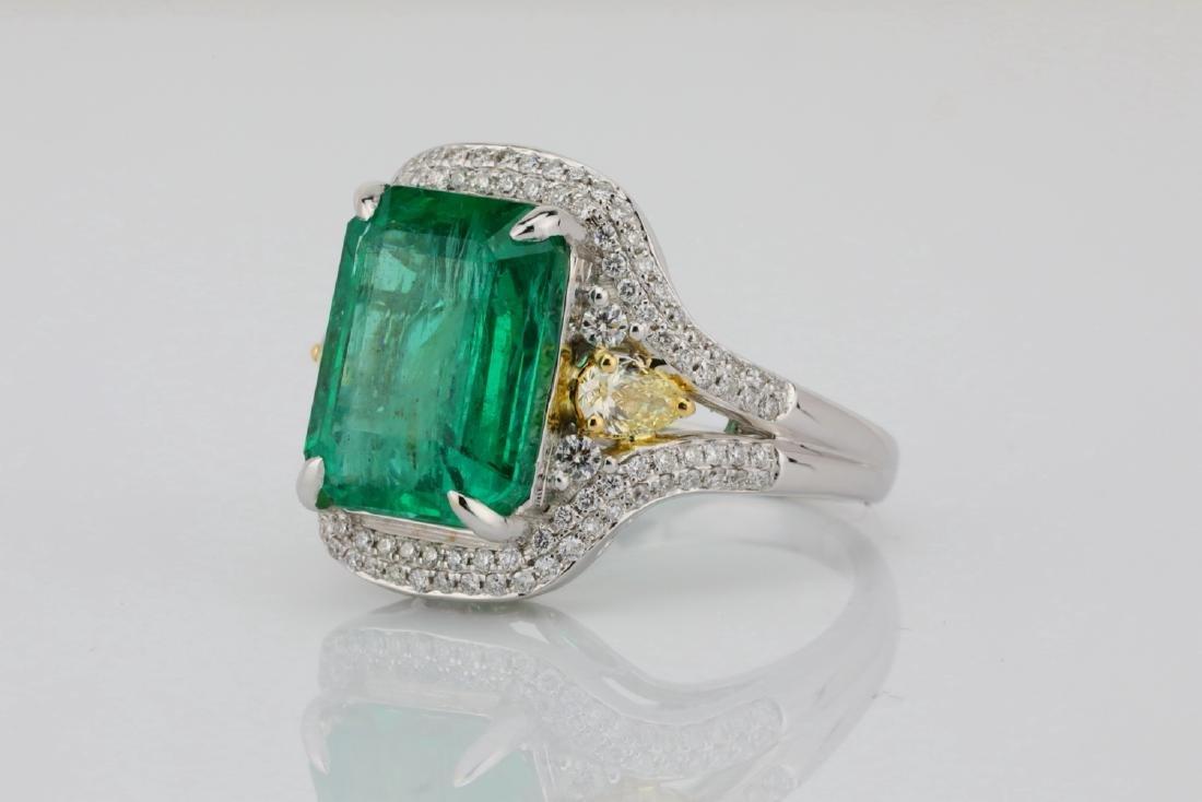 6.35ct Emerald, .8ctw Yellow/White Diamond 18K Ring - 2