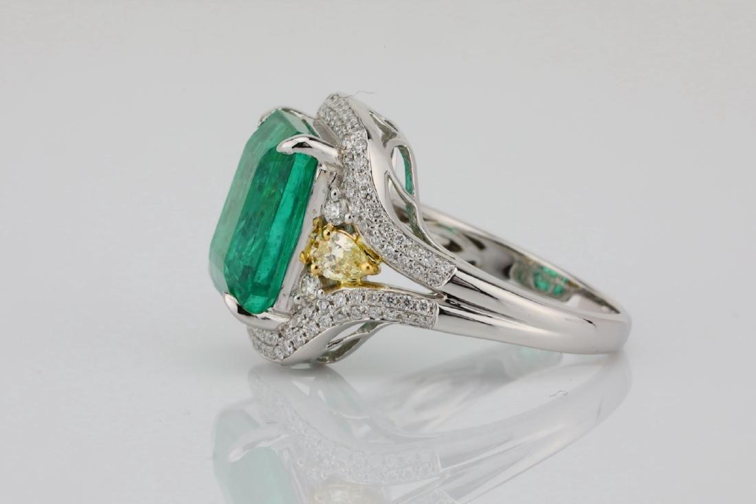 6.35ct Emerald, .8ctw Yellow/White Diamond 18K Ring - 6