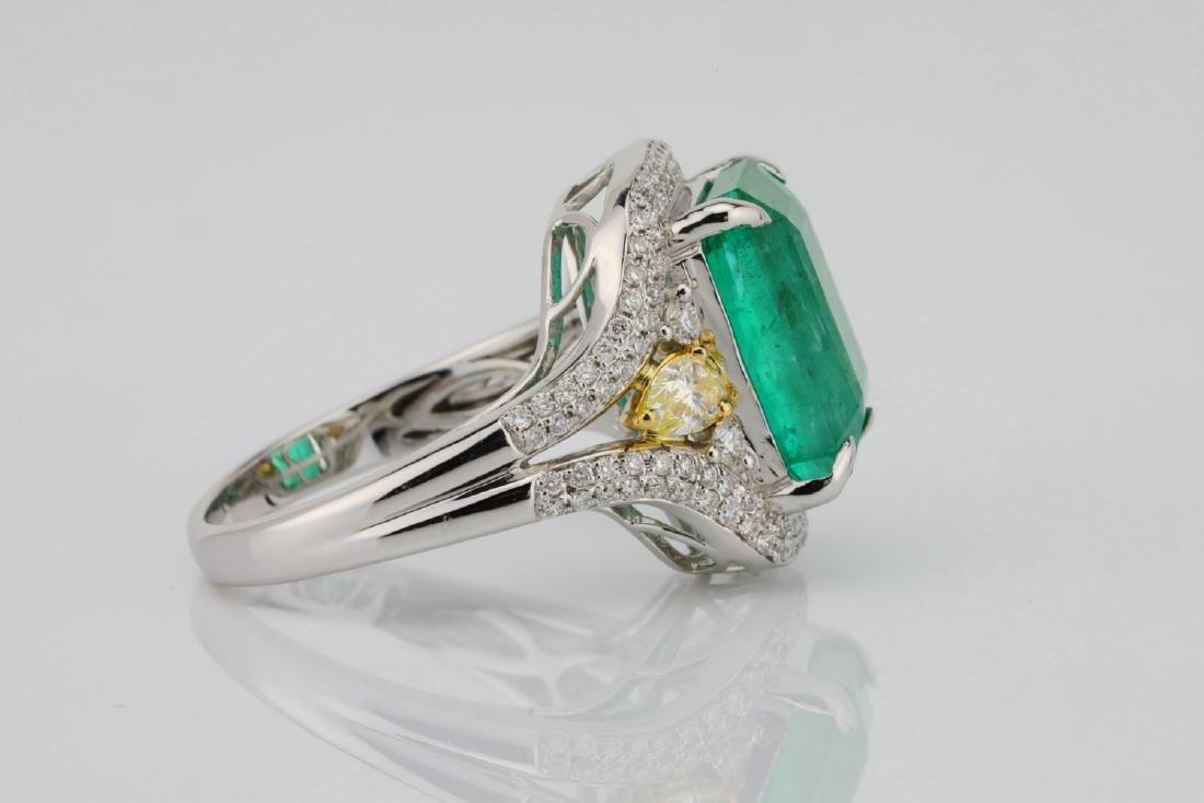 6.35ct Emerald, .8ctw Yellow/White Diamond 18K Ring - 7